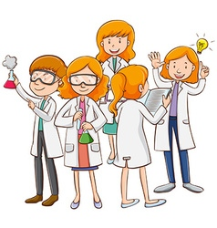 Male and female scientists working vector image