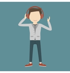 Man Listening Music Through Headphones vector image