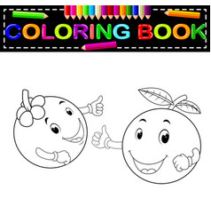 mangosteen and orange with face coloring book vector image