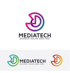 Media technology logo design vector