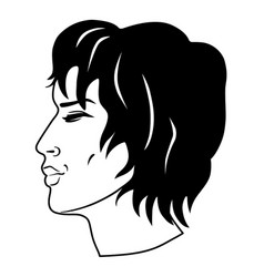 Men curly hair had vector