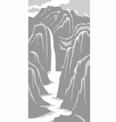 Mountains and river vector