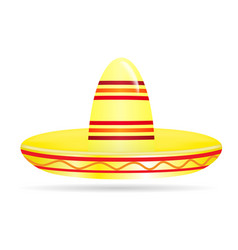 naturalistic colorful sombrero on white background vector image