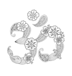 Om or Aum sign lined with flowers and leaves vector