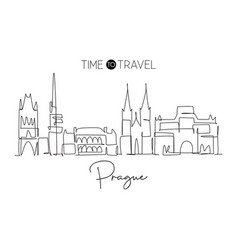 One single line drawing prague city skyline vector