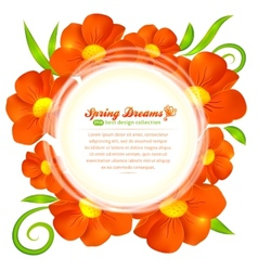Orange flowers circle frame vector