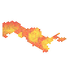 Orange hexagon uzbekistan map vector