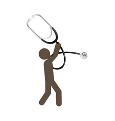 Person with stethoscope tool in his hands vector