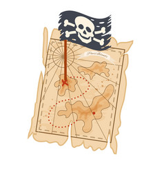 pirate treasure map with coordinates pirate flag vector image