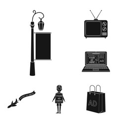 Production of advertising black icons in set vector