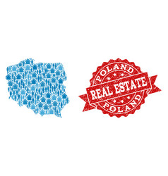 Real estate composition of mosaic map of poland vector