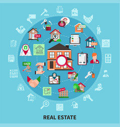 real estate round composition vector image