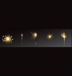 Realistic sparklers set wind blows sparks vector
