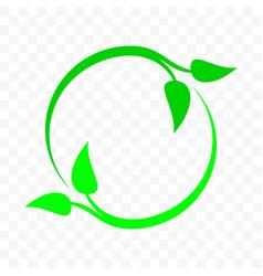 Recycling icon green leaf arrow circle bio garbage vector