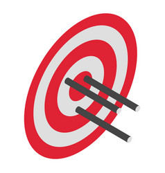Red arrow target icon isometric style vector
