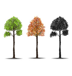 Red green and silhouettes tree vector