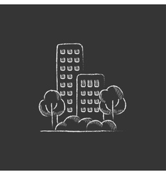 Residential building with trees Drawn in chalk vector