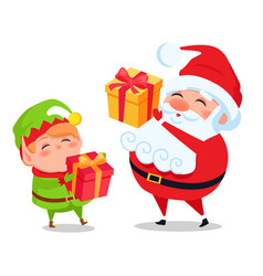 santa claus and elf helper holds presents in hands vector image
