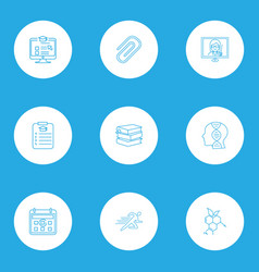 School icons line style set with sports study vector
