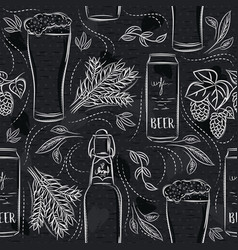 Seamless patterns with set beer bottle mug vector