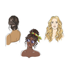 set different female hairstyles women vector image
