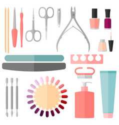 Set manicure and pedicure tools vector