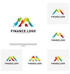 set of business finance logo concept finance vector image