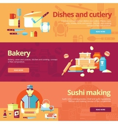 Set of flat design concepts for dishes and cuisine vector image