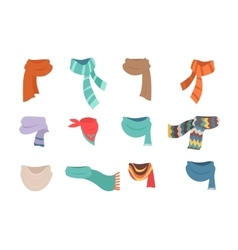 Set of Scarves for Cold Weather to Boys and Girls vector