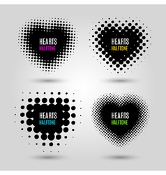 Set with abstract halftone hearts vector image