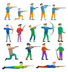 shooting sport icons set cartoon style vector image