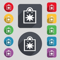 shopping bag icon sign A set of 12 colored buttons vector image