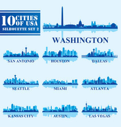 Silhouettes cities of usa set 2 on blue background vector