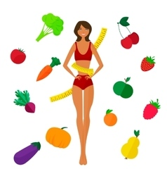 Slim black girl fresh fruits and vegetables vector image
