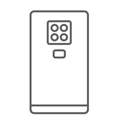 smartphone with four camera thin line icon gadget vector image