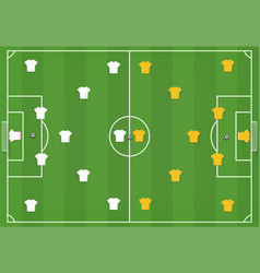 Soccer field with players mock from top vector