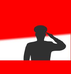 Solder silhouette on blur background vector