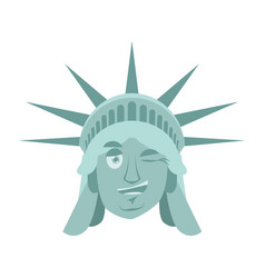 statue of liberty winks emoji us landmark statue vector image