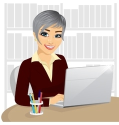 successful young businesswoman with laptop vector image