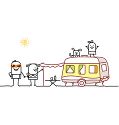 Summer family with camping car vector