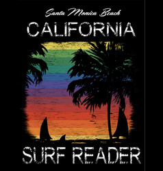 surf california typography t-shirt graphics vector image