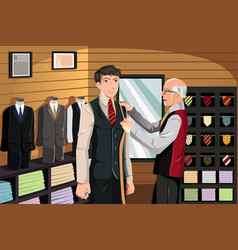 Tailor fitting for suit vector