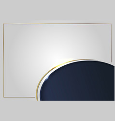 Template gold curved line frame on white and dark vector