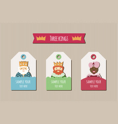 three kings tags vector image