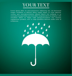 umbrella and rain drops icon on green background vector image