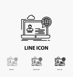 Webinar forum online seminar website icon in thin vector