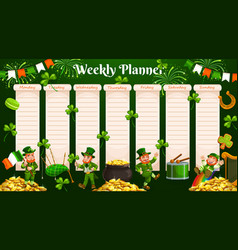 Weekly planner template with schedule or organizer vector