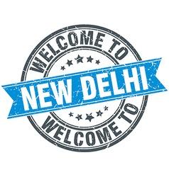 Welcome to New Delhi blue round vintage stamp vector