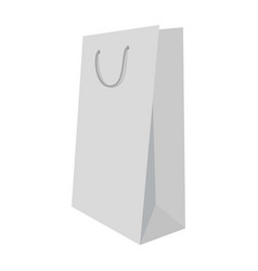 white shopping bag mockup realistic style vector image