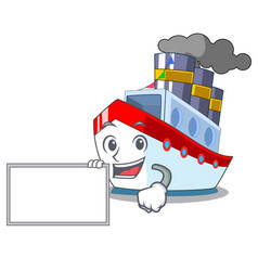 With board ship in the transportation ocean mascot vector